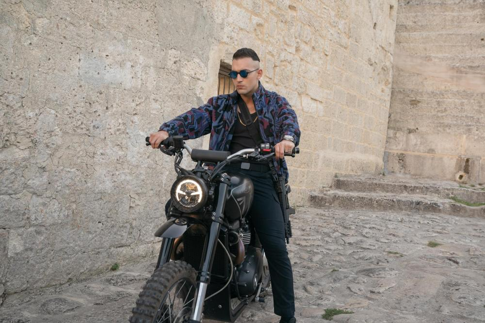 4. Primo on his Triumph Scrambler 1200 XE in Matera Italy